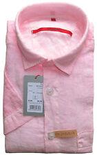 SIGNUM Hemd Kurzarm Comfort NEU / Gr. M / Leinen / Cold Dye / pink / S3.0268