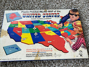1967 Hassenfeld Bro's Plastic Puzzle Inlaid Map of the United States with Box
