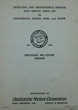 Continental Engine AU85 AU85R Operator, Parts & Repair Manual Garden Tractor 20p