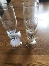 Things Remembered Bride and Groom Champagne Flute Glasses