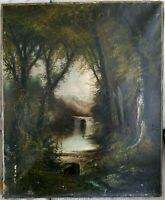 Antique Oil on Canvas Painting Landscape Lake Mountains