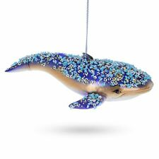 Blue Whale Blown Glass Christmas Ornament