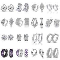 Women 925 Silver Plated Crystal Ear Stud Drop Round Hoop Dangle Earrings Jewelry