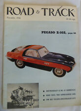 ROAD & TRACK MAGAZINE NOVEMBER 1954 PEGASO Z102 MG TF HILLMAN MINX