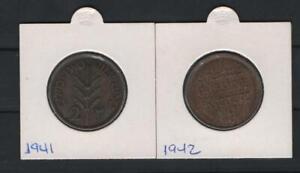 PALESTINE 2 MILS 1941-1942  (2 COINS )