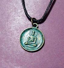 Buddha Round Antique Patina Verdigris Bronze Pendant Adjustable Necklace