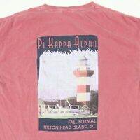 Comfort Colors Pi Kappa Alpha T-Shirt LARGE Faded Red College Fraternity Beach