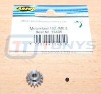 Carson 500013405 15T Steel Pinion Gear (0.8/08 Module) (Tamiya Hot Shot), NIP