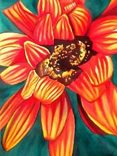 ORIGINAL ART - Gazania orange flower watercolour