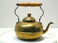 Vintage Brass Metal Tea Pot Kettle Wooden Handle Two Cup fast shipping