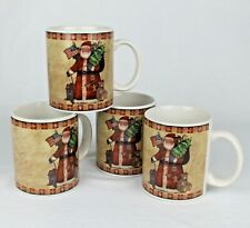 New listing Country Santa Collection 4 Ceramic Coffee Mugs by Susan Winget - Patriotic Flag
