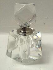 Empty Perfume Bottle Crystal Refillable Cut Glass Scent Vintage Silver 14cm H