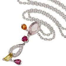Cartier Multi Gemstone Delices Pendant Necklace in 18K White Gold w/Box D4915