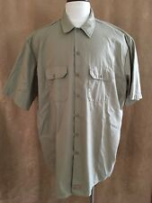 3XL Dickies Mens button front shirt khaki brown tan Big & Tall poly cotton work