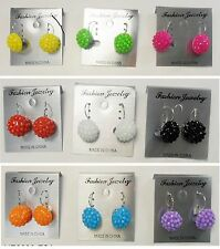 fashion jewelry lots 9 pair disco ball plastic small french clip earring  #333