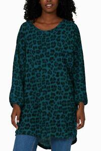 Plus Size Italian Lagenlook Ladies Baggy Sleeves Leopard Print Tunic Top Shirt