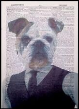 British Bulldog Print Vintage Dictionary Page Wall Art Picture Animal Dog Human