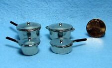 Dollhouse Miniature Complete Set of 4 Cooking Pots & Pans with Lids ~ MA1167
