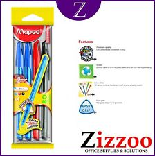 MAPED ICE FINE PENS WITH GLIDE EXTRA PACK OF 4 WITH 2 BLUE 1 BLACK AND 1 RED PEN