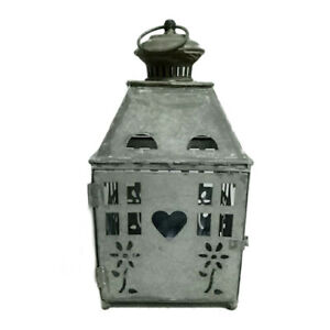 Oriental Metal Latern & Candle Holder Featuring a Floral & Heart Cut Out Design