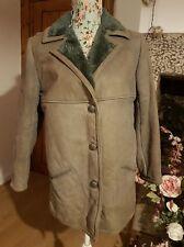 VINTAGE SHEEPSKIN SUEDE jacket / coat BLUESIH GREY FURRY LINING WOMENS 12 40 VGC