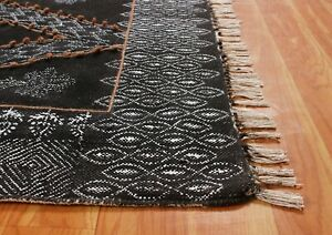 Hand Block Printed Cotton Dhurries Area Rugs Antique Look Geometric Home Carpet