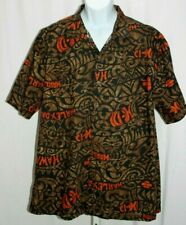 Harley-Davidson Brown & Orange Tiki Camp Hawaiian Shirt Mens Size 2XL (XXL)