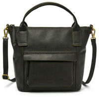 NWT Fossil Aida Satchel Black Leather Crossbody Bag SHB2098001 $198 Retail