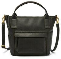 NWT Fossil Aida Satchel Black Leather Crossbody Bag SHB2098001 $198 Retail