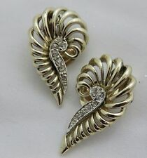 Vintage Gold Marboux Earrings with Rhinestones Clip on Style