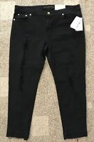 Michael Kors Womens Black Izzy Cropped Skinny Jeans Pants Sz 14 Distressed