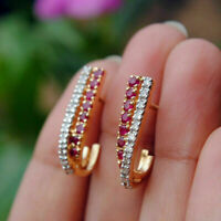1.35Ct Round Cut Red Ruby 14K Yellow Gold Over Huggie Hoop Earrings For Women's