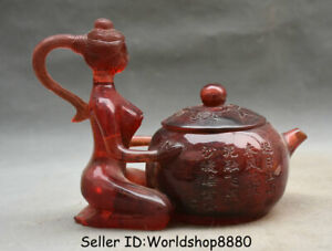 """8"""" Rare Chinese Red Amber Carved Dynasty Kneel Woman Girl Texts Handle Teapot"""