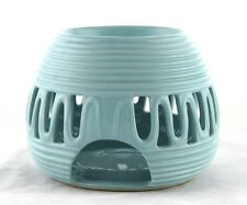 Blue Ceramic Round Oil Warmer Earthbound Trading NEW tealight candle tart modern