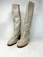 VINTAGE Leather Boots Stivali Alti Beige In Pelle Con Tacco EUR 38,5 Donna Woman