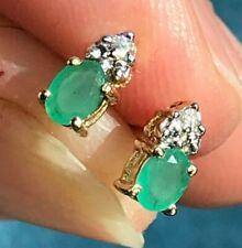 SG MERMAID 10k Yellow Gold Emerald & Diamond Stud Earrings. TINY
