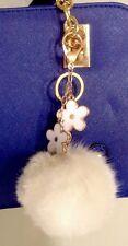 Fashion Flower Charm With Real Rabbit Fur Ball Key Chain Purse Charm