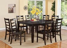 9PC DINETTE DINING ROOM SET TABLE & 8 PLAIN WOOD SEAT CHAIRS IN CAPPUCCINO