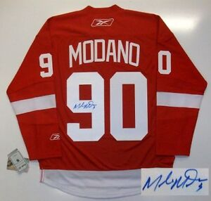 MIKE MODANO SIGNED DETROIT RED WINGS JERSEY REAL RBK