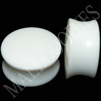 """0446 Double Flare Saddle Solid White Acrylic Ear Plugs Earlets 7/8"""" Inch 22mm"""