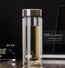 300ml double wall Water Glass Bottle Mug Cup w/Tea Infuser