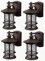 4 Pack Bronze Outdoor Wall Mount Lantern Lights Exterior Sconce Seeded Glass Lot