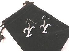 """Austrian Crystal 18k White Gold Stylised """"Y"""" Crystal Earrings"""