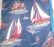 Clipper Ships Sailboats Polished Cotton Fabric Decorator 1.75 Yds. 36 in. Wide