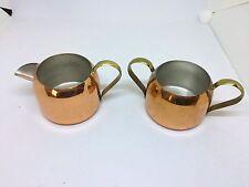 Copper Creamer & Sugar Bowl Set With Brass Handles - Coppercraft Guild - USA