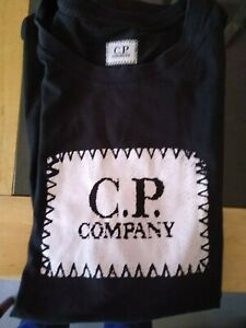 C.P. Company - black logo T-shirt, medium - with certificate of authenticity