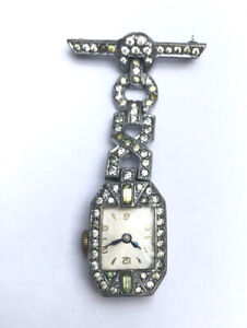 Art Deco Diamante and Chrome Nurses' Pendant Lapel Brooch Watch