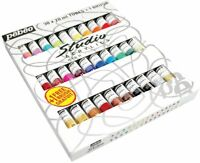 Pebeo Studio Acrylic 30 x 20ml Tubes Assorted Colours With Artist Brush 833431