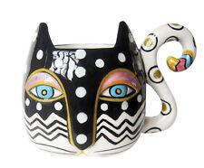 New Laurel Burch Mug Cup Zig Zag Cat Kitten Figure Coffee Tea 16 Oz Black White