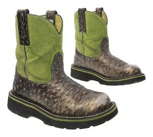 ARIAT FATBABY Cowboy Boots 6 B Womens EXOTIC Ostrich Print Leather Western Boots